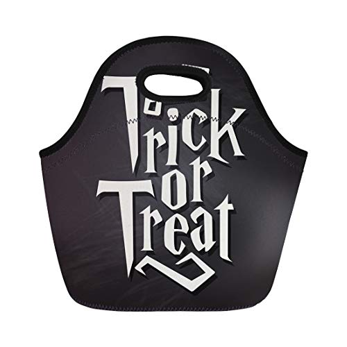 Semtomn Lunch Tote Bag Spooky Trick Treat Halloween Quote on Black Chalkboard Autumn Reusable Neoprene Insulated Thermal Outdoor Picnic Lunchbox for Men -