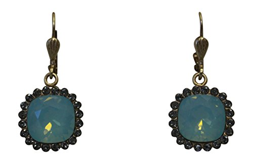 Ayala Designer Earrings (Catherine Popesco La Vie Parisienne Petite Square Earrings Pacific Green & Grey Swarovski Crystals 9592)