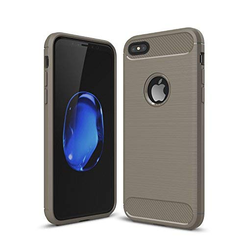 iPhone 6 Plus / 6s Plus Shockproof Silicone Light Brushed Grip Case Protective Case Cover for Apple + Screen Protector iPhone (Grey)