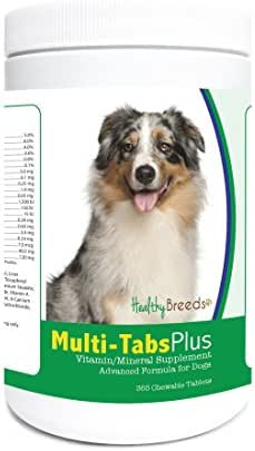 Healthy Breeds Dog Multivitamin and Mineral Supplement Chewable Tabs for Australian Shepherd - Over 80 Breeds – 180, 365 Chews – Formula for Young or Senior Pets – Easier Than Liquid, Powder