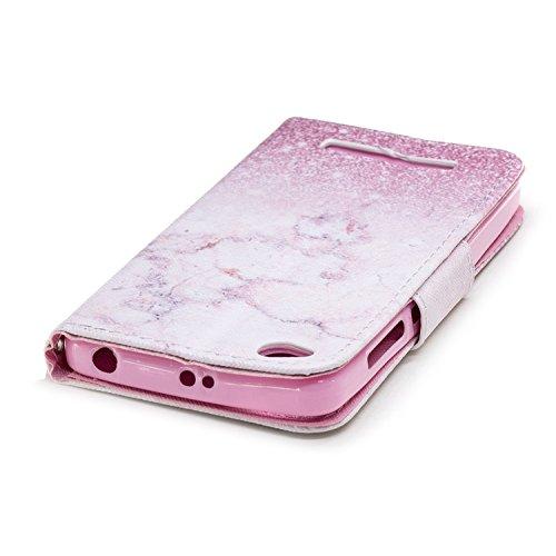 Funda para Xiaomi Redmi 4A , IJIA Rosa Mármol TPU + PU Cuero Ranuras para Tarjetas de Crédito Flip Caja [Estilo Libro,Soporte Plegable ] Cover Tapa Caso Parachoques Carcasa Cubierta Shell para Xiaomi