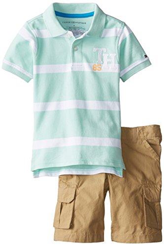 Tommy Hilfiger Little Boys' Alvin Polo with Cargo Short Set, Yucca Mint, 06 Regular