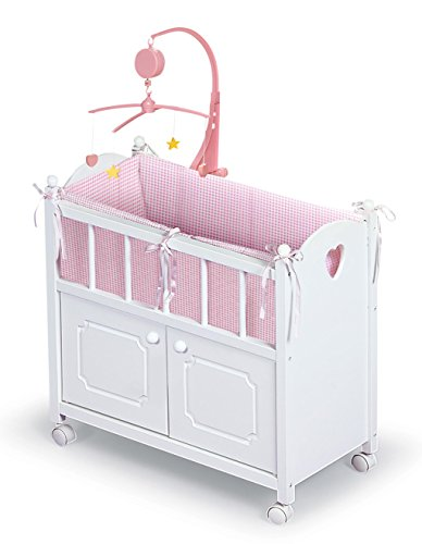 - Badger Basket Cabinet Doll Crib with Gingham Bedding, Musical Mobile, Wheels, and Free Personalization Kit (fits American Girl Dolls)