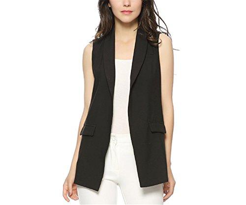 Caseminsto Women Fashion Elegant Office Lady Pocket Coat Sleeveless Vests Jacket Outwear Casual Brand Black M by Caseminsto (Image #5)