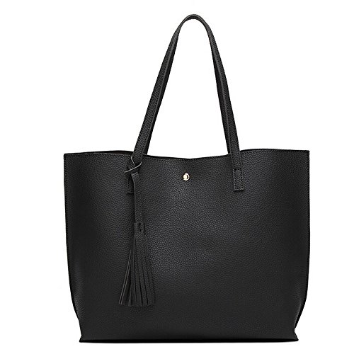 - Women Girls Tassels Leather Bag Shopping Handbag Shoulder Tote Bag Large Laptop Purses (45cm(L) 30cm(H) 11cm(W), Black)