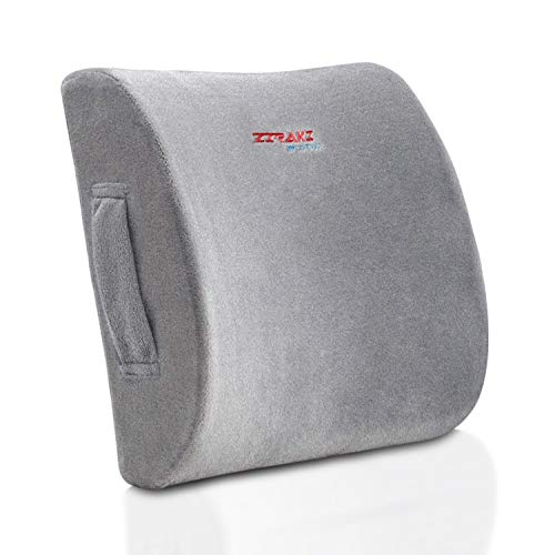 ZIRAKI Memory Foam Lumbar Cushion - Premium Lumbar Support Pillow Lower Back Pain Relief, Protect & Soothe Your Back - Improve Your Posture - Soft & Firm Balanced Chair Pillow Comes W/Travel Gift Bag