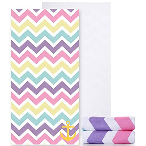 Ricdecor Beach Towels Oversized Cotton Rainbow Beach Towel for Kids Girls Beach Towel (Colorful) ()