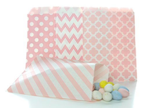 Pink Candy Bags (100 Pack) - Summer Wedding Favor Bags, Baby Pink Baby Shower Supplies & Party Decorations
