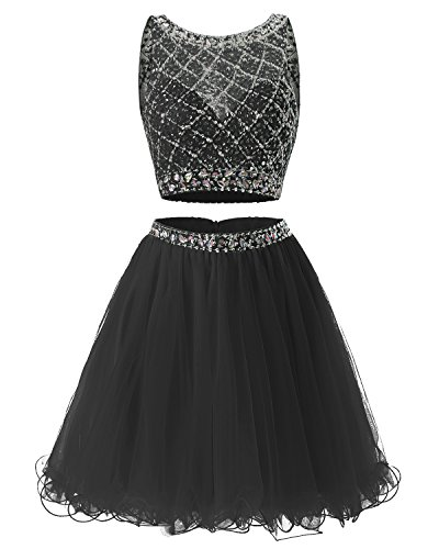 Bridesmay Short Tulle Homecoming Dress Beaded Two Piece Cocktail Dress Black (Beaded Short Dress Cocktail Dress)