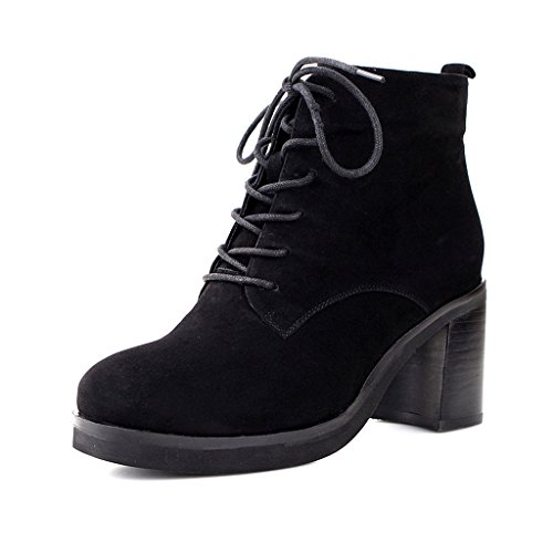 Women's Martin Boots Winter Leather Boots medium tube high heels ( Color : Black , Size : US:6.5UK:5.5EUR:38 ) by LI SHI XIANG SHOP