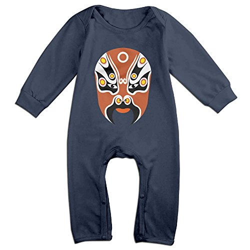 [PAGE2 Peking Opera Face Mask Newborn Babys Long Sleeve Jumpsuit Outfits Navy Size 6 M] (Baby Golfer Costume)