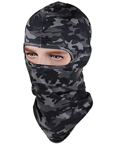 GANWAY CS Hat Breathable Stretch Camouflage Tactical Outdoor Ski Balaclava Motorcycle Mask Scarf Cap (Black) Camouflage Balaclava