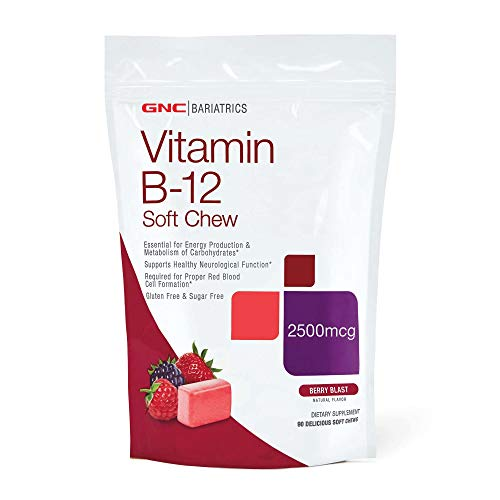 GNC Bariatrics Vitamin B-12, Berry Blast, 90 Soft Chews, Supports Carbohydrate Metabolism and Energy Production