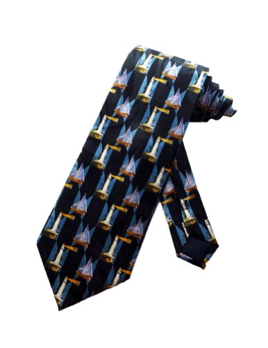 Men's Black Sailing Sailboat Nautical Lighthouse Necktie Tie Neckwear -