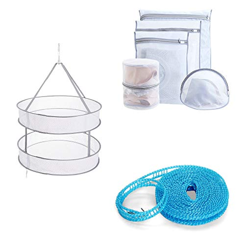 AMOY TANG Mesh Laundry Basket Drying Net Basket Set- Foldabl