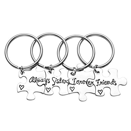 Jovivi Silver Engraved Sisters Friends Forever Jigsaw Puzzle Piece Keychain Key Rings For Best Friend BBF Friendship,Set of 4 (Ring Key Set)