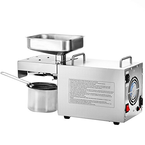 VEVOR Oil Press Machine Stainless Steel Oil Extractor Machine Commercial Oil Expeller Extractor Multifunctional with 3 Uses for Peanut Nuts Seed(Auto Oil Press)