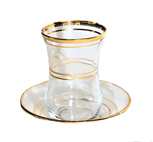 (Turkish Tea Glass Set of 6 Cups with Matching Saucers Gold Embossed Art Glass (2 Gold Lines))