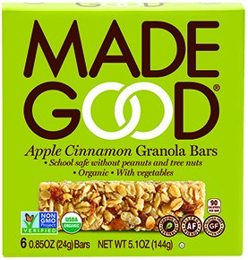Made Good Granola Bar Apple Cinnamon, Case of 6 Boxes,5.01 oz -