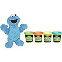 Play-Doh Glow In The Dark 2oz And Sesame Street Plush Pal Cookie Monster 9in