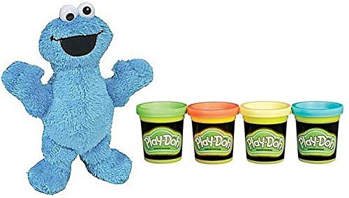 (Hasbro Play-Doh Glow In The Dark 2oz And Sesame Street Plush Pal Cookie Monster 9in)