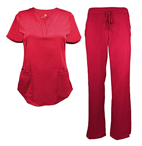 (Natural Uniforms Women's Ultra Soft Drop-Neck Scrub Set (Red,)
