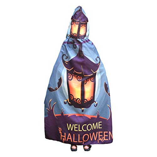 2018 Women and Girls New Novelty Pumpkin Print Cape Scarf Halloween Poncho Shawl Wrap Costume (Kids, Green Lantern 1) -