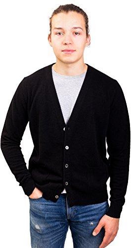 (Citizen Cashmere Men's Cardigan V-Neck - 100% Cashmere (X-Large, Black), (42 133-02-04))