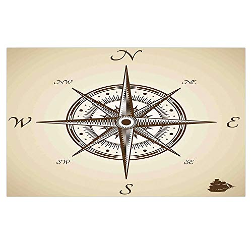 3D Floor/Wall Sticker Removable,Compass Decor,Compass Illustration Navigating Marine Instrument Antique Collection Artwork Print,Beige Brown,for Living Room Bathroom (Read Marine Compass)