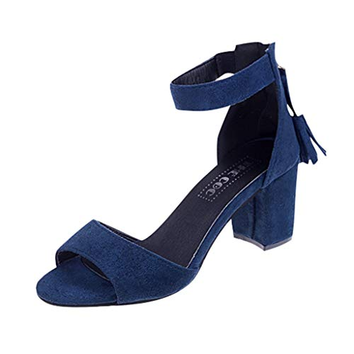 Women's Shoes for Women,SYHKS Women's Casual Roma Thick High Heel Tassel Zip Sandals Student Peep Toe Shoes Sandles for Women(Blue,37