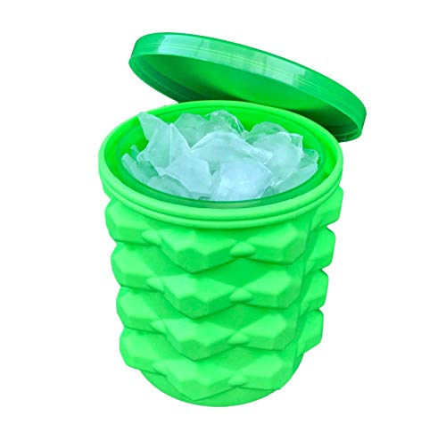 The Ultimate Ice Cube Maker Silicone Bucket with Lid Makes Small-Size Nugget Ice Chips for Soft Drinks, Cocktail Ice, Wine On Ice, Crushed Ice Maker Bucket Ice Tray Silicon Ice Cube Molds Cylinder Ice (Green Ice Bucket)