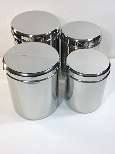 3 Stainless Steel Canisters - Qualways Jumbo Stainless Steel Kitchen Canister Set of 4 (Set of 4), 6.5 lb, 5 lb. 4 lb and 3 lb canister set