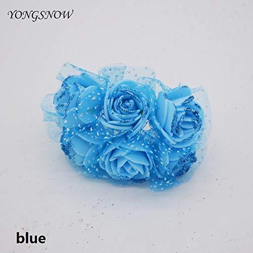 Flower Bouquet - 12pcs 3 5cm Decorative Fake Flower Glitter Silk Rose Multicolor Artificial Pe Foam Bouquet Wedding - Bags Love Glass Card Blue Shadow Centerpieces Cellophane Pink Packaging ()