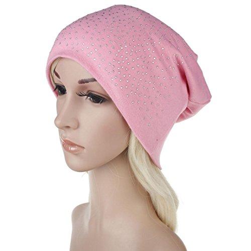 Botrong Women Hot Drilling Cotton Hip Hop Hat Beanie Scarf Turban Head Wrap Cap (Pink)