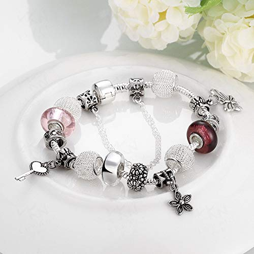 WSZMD Classic Bracelet Ornament Elegant Bracelet European and American Style DIY Beaded Crystal Bracelet Ladies Accessories Creative Colorful Glass Beads Jewelry (Size : A)