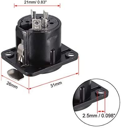 NA 3-Pin XLR Female Jack Panel Mount for Microphone Connector Adapter Converter Audio Speaker Black 1Pcs YL3072