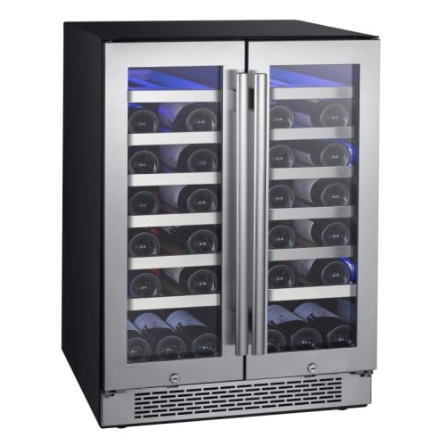 Avallon AWC241FD 42 Bottle 24' Dual Zone French Door Built-In Wine Cooler