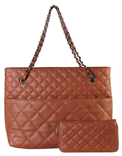 diophy-pu-leather-quilted-pattern-2-pieces-set-tote-with-chain-handles-womens-purse-handbag-oy-3719