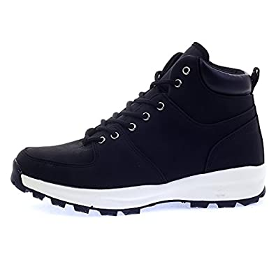 Amazon.com | Mens Black Plain High Top Sneakers Ankle Boots | Western