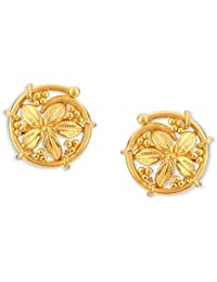 Certified Latest Indian Solid 22K 916 Stamped Fine Gold Round Designer Earrings