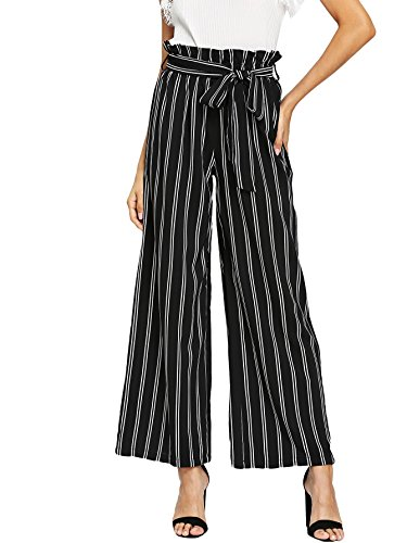 - Floerns Women's Frilled Waist Striped Print Palazzo Pants Black and White M