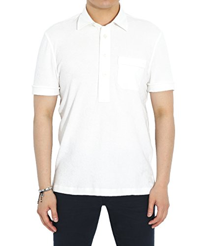 Price comparison product image Wiberlux Tom Ford Men's One Pocket Cuffed Sleeve Polo Shirt 46 White