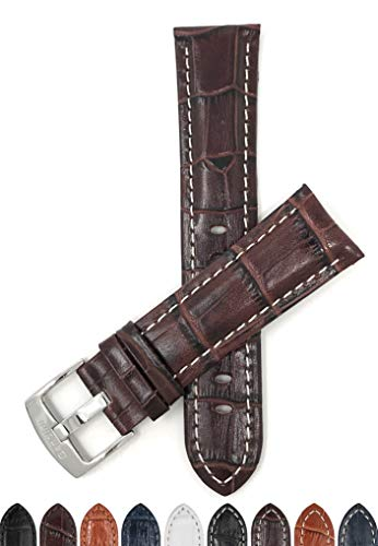Extra Long XL, 22mm Brown Alligator Style Leather Watch Band, Stitching, Glossy ()