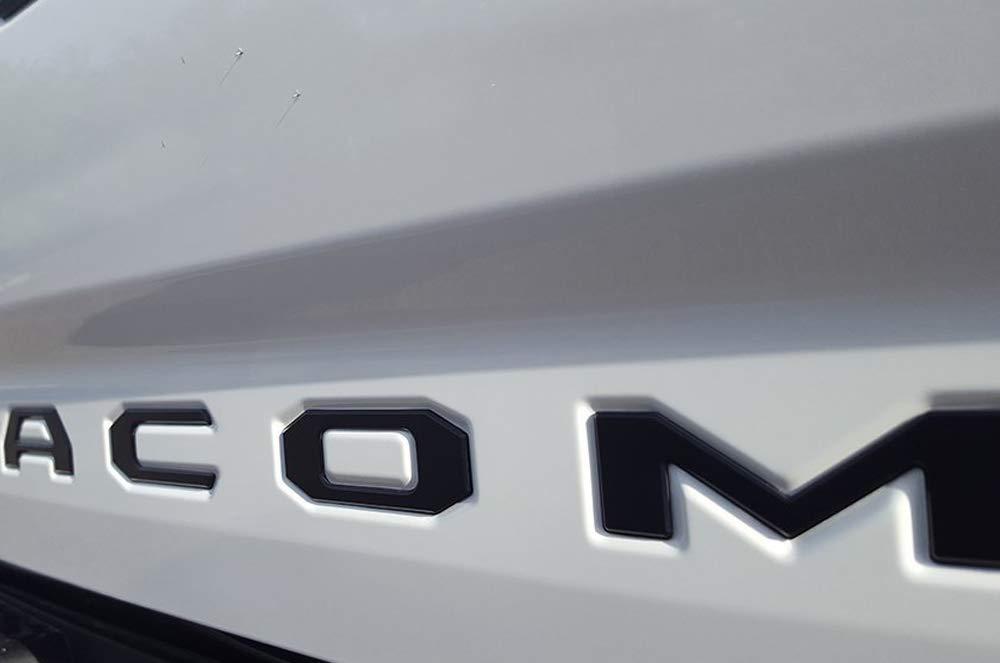 2016-2019 Toyota Tacoma Raised Flat Black Tailgate Emblems Insert