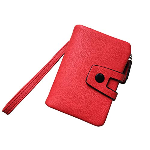 Women's Small Bifold Leather wallet Rfid blocking Ladies Wristlet with Card holder id window Coin Purse (Red2)