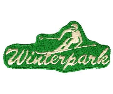 Winter Park Colorado White Skier on Green 1970's Ski Patch (Ski Terrain Park)