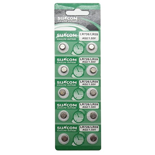 Watch Sr726w Battery - SUNCOM (10 pcs) AG2 Alkaline 1.5V Button Cell Battery Single Use LR726 LR59 SR726W GP397 612 SG2 Watch Toys Remotes Cameras