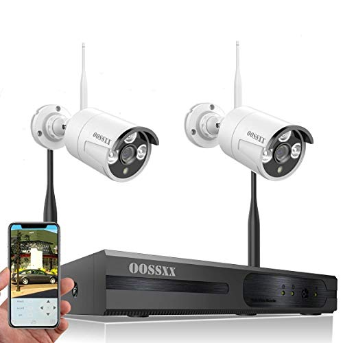 【2019 Update】 HD 1080P 8-Channel OOSSXX Wireless System/IP Security Camera System 2Pcs 720P(1.0 Megapixel) Wireless Indoor/Outdoor IR Bullet IP Cameras,P2P,App
