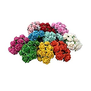 100 Mixed Color 10mm Artificial Mulberry Paper Rose Flower Wedding Scrapbook 1.5cm DIY Craft Scrapbook Scrapbooking Bouquet Craft Stem Handmade Rose Valentines Anniversary Embellishment Mini Roses 25