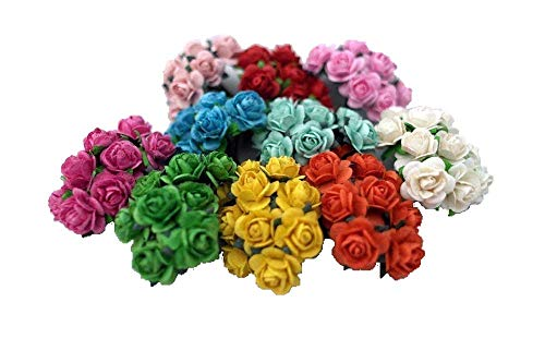 100 Mixed Color 10mm Artificial Mulberry Paper Rose Flower Wedding Scrapbook 1.5cm DIY Craft Scrapbook Scrapbooking Bouquet Craft Stem Handmade Rose Valentines Anniversary Embellishment Mini -